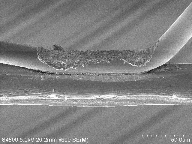 Electron microscope image of a wire to wire bond